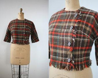 vintage 1960s jacket / 60s plaid jacket / 60s wool fringe cropped jacket / 60s three quarter sleeve jacket / 60s brown plaid jacket / XL