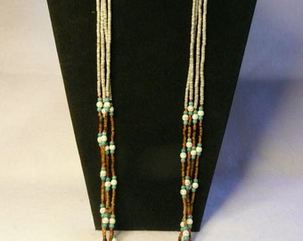 Native American Style Multi Strand Heishi and Turquoise Necklace