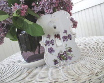 Vintage Light Switch Plate Cover * Shabby Chic * Cottage * Violets * Marked Japan