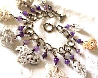 Shell & Amethyst Bracelet - Chunky Antique Bronze Handmade Boho 8 Inch Natural Seashore Beach Jewelry Purple, Cream and Gray - Gift for Her!