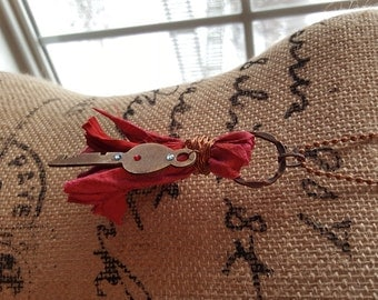 Red Tassel Necklace with Vintage Key-Sari Ribbon-Mixed Media