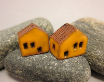 READY TO SHIP...Miniature Terracotta House Beads...Set of 2...Yellow