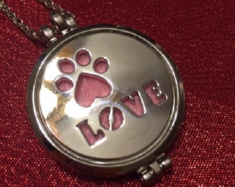 Stainless Steel (Double Sided) Diffuser Necklace, Paw Print, Love, Felt Pads + Bonus Oil FREE Shipping