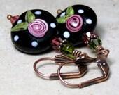 Lampwork Bead Earrings, Glass, Black Earrings, Swarovski Crystal, Flower, Dangle Drop Earrrings, Vintage Style, Antique Copper, Leverback