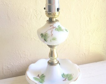 Beautiful Vintage White Milk Glass Lamp with Gold and Painted Leaves Electric Accent Lamp