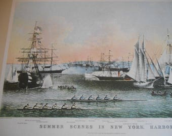 New York Harbor, Classic Currier and Ives, Vintage 1942 art print, wall decor