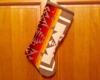 Christmas Stocking XL Wool Tan Chief Joseph Southwestern Geometric Tribal Handcrafted Using Fabric from Pendleton Woolen Mill
