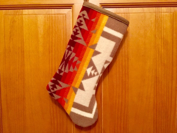 Christmas Stocking XL Wool Tan Chief Joseph Southwestern Geometric Tribal Handcrafted Using Fabric from Pendleton Woolen Mill