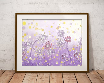 Purple Flower Decor, Dandelion Art Print Nature Wall Art, Lavender Nursery Decor Natural Wall Art