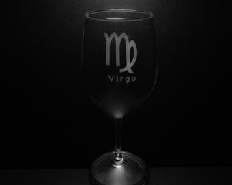 Virgo Symbol 13 Ounce Wine Glass