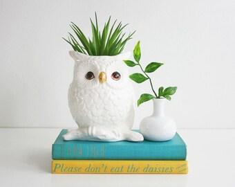 Vintage Napcoware White Owl Planter / Mid Century Owl Planter / Napcoware Owl Plant Pot / Napcoware Ceramic Planter