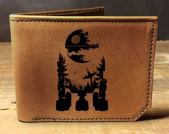 wallet, leather wallet, mens leather wallet, star wars wallet, R2D2 wallet, death star, empire, robot, droid