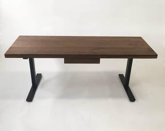 the taylor ii modern adjustable standing desk walnut electric adjustable standing desk with drawer