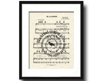 Blackbird by The Beatles Spiral Song Lyric Sheet Music Art Print, The Beatles Music Art Print, Spiral Words, Music Wall Art
