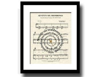 Seventy Six Trombones Song Lyric Sheet Music Art Print, The Music Man, 76 Trombones, Custom Gift, Names & Date, Music Art