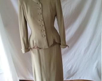 Vintage Lady Remlyn Women's Suit 1940s Peplum Beaded ornamentation