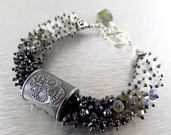 25% Off Anne Choi Sugar Skull Wire Wrapped Bracelet, Spinel, Labradorite, Moonstone with Sterling Silver