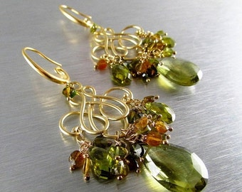 25% Off Olive Green Quartz With Green Tourmaline Gold Plated Earrings