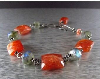 25% Off Sunstone and Labradorite Sterling Silver link Bracelet