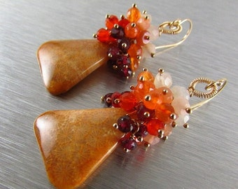 25% Off Indonesian Fossil Coral, Rhodolite Garnet, Carnelian and Moonstone Gold Filled Cluster Earrings Earrings