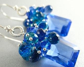 25 % OFF Blue Topaz, Lapis, Apatite and Quartz Gemstone Sterling Silver Earrings