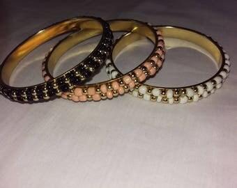 Set 3 Vintage Beaded Bangle Bracelets Pink White Black