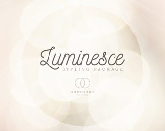 Luminesce - Etsy Shop Styling Package - Logo, Cover, Icon, and Placeholders - Full Storefront Branding Graphics Set with a Warm Sunlit Glow