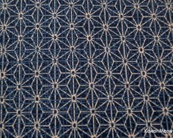 "Scrap / Kimono Fabric - Asanoha Navy Blue - 110cm/43""W x 54cm/20""L"