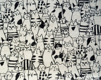 Japanese Fabric / Cotton Linen- Cats Ecru - Fat Quarter (ma170210)