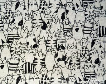 Japanese Fabric / Cotton Linen- Cats Ecru - Fat Quarter (ma170210)