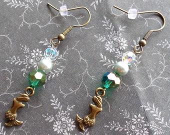 Bronze Mermaid Earrings - Ocean Sea Witch Earrings - AB Teal Crystal Pearl Earrings Undine Selkie - Wicca Pagan Sea Witch