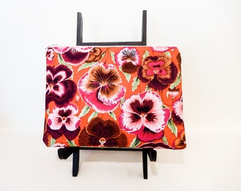 Pencil Case, Pencil Pouch, Pansy Pouch, Change Pouch, Zipper Pouch, Fabric Pouch, Pouch, Kaffe Fasset Collective Pansy in Pink and Orange