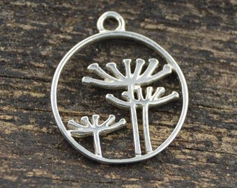Sterling Silver Queen Anne's Lace Pendant 15x13 mm, Sterling Openwork Solid 925 Silver, Silver Flower Pendant, Silver Tree, FPMOS