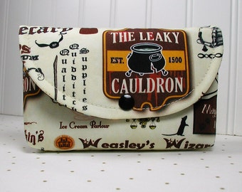 Diagon Alley Pouch, The Leaky Cauldron, Harry Potter Pouch, Diagon Alley Shops,  Large Snap Pouch