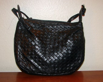 Small Black Woven Faux Leather Shoulder Bag