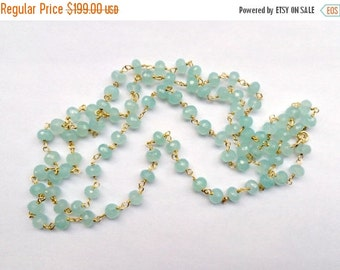 50% SALE Aqua Necklace Long Wire Wrap Rosary Chain Aqua Chalcedony Gold Vermeil Bohemian Jewelry Layering Necklace
