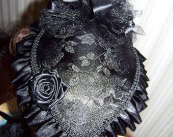 Ladies Civil War Hat and Reticule,Victorian Ladies,Black teardrop Rose Brocade with Black Satin ruffle costume