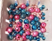 Vintage 1950's Pink and Blue Mercury Glass Beads for Christmas Arts and Crafts- 100 of Them