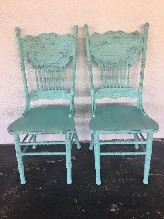 Vintage wood rustic dining chairs set 2 turquoise color