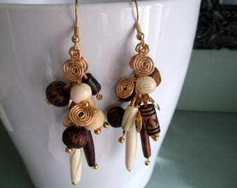 Tribal Cluster Earrings Earthy Ethnic Primitive Long Dangle Boho Native Natural Bohemian Festival Chic Jewelry Neutral Color Cream Brown