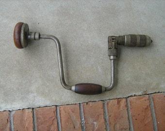 "Antique brace & bit hand drill wood handle ratcheting reversible 12 "" swing"