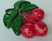 Ceramic Cherry Wall Decor Vintage Kitchen Decor Cherries