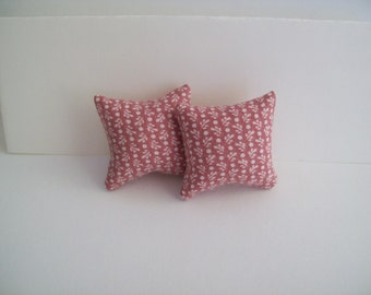 "miniature Mauve print 1 1/4"" square pillow pair"
