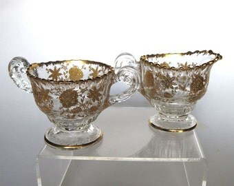 Cambridge Glass Wildflower Etched Gold Encrusted Individual Sugar and Creamer Set