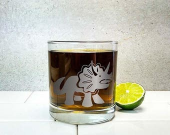 Triceratops Dinosaur | Etched Engraved Glass | Whiskey Glass | Scotch Glass | Dinosaur Gift | Dinosaur Decor | Funny Dino Cute