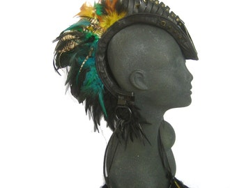 leather mohawk,head piece,Leather Feather Headdress, burning man,shaman, warrior tribal:RenegadeIconDesigns; Rara Avis Collection