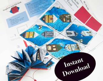How to Make the Artist Book: Community, a Hungarian map fold book, artist book pattern, DIY origami fold tutorial, instant PDF download