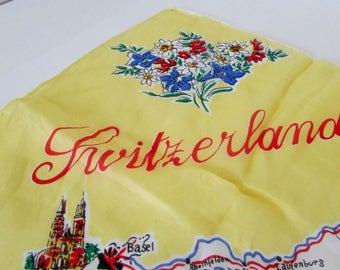 Pure Silk Souvenir Scarf Vintage Scarves 1950s Switzerland Silk Scarf Scarves Hand Rolled Edges