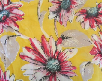 Vintage Scarf 1950s Yellow and Pink Floral Rayon Silk Scarf Scarves Hand Rolled Edges