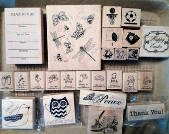 DESTASH - 42 Rubber Stamps Set - New and Used - Huge Variety - 11 Stampin' Up Stamps - Stamping - Card Making - Scrapbooking - Crafting